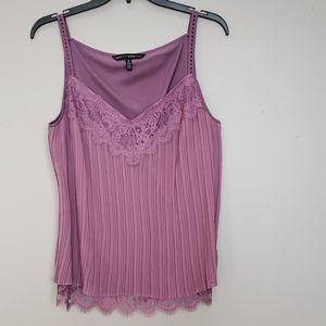 White House Black Market pleated lace top, sz M